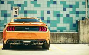 Wallpaper Ford, rear view, 2018, Mustang GT, Fastback Sports