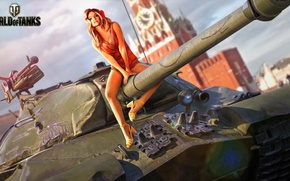 Wallpaper tank, trunk, girl, heavy, figure, Red Square, World of Tanks, Is-3, Soviet, The Kremlin, art, ...