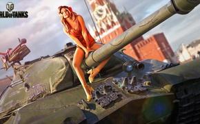 Wallpaper girl, figure, art, tank, trunk, The Kremlin, heavy, Soviet, World of Tanks, Is-3, Red Square, ...