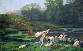 Wallpaper mythology, Jean-Leon Gerome, Diana and Actaeon, erotic, picture
