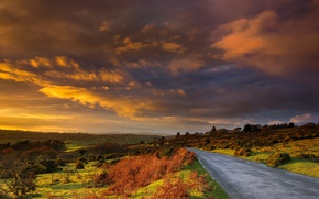 Picture road, clouds, hills, England, glow