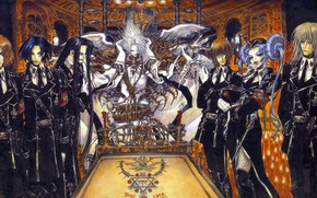 Picture candles, characters, temple, trinity blood, pentagram, military uniform, Sabbath, favorites, Trinity blood, Cain Nightroad, Dietrich …