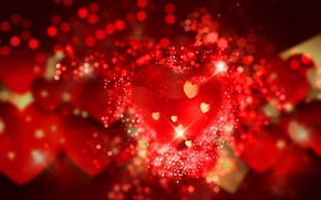 Picture hearts, red, love, background, romantic, hearts, bokeh, Valentine's Day
