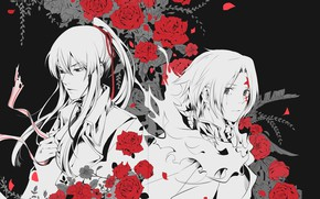 Picture roses, art, guys, D.Gray-man