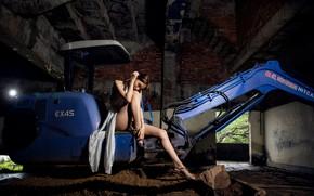 Picture girl, background, excavator