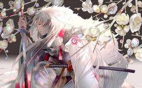 Picture branches, sword, katana, Sakura, the demon, cloak, flowering, white fur, Inuyasha, Sesshomaru, long white hair, …