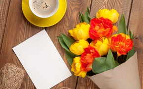 Picture flowers, coffee, yellow, Cup, tulips, red, romantic, a bouquet of tulips