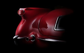Picture wing, curves, form, body, bumper, exhaust pipe, fine art photography, 1954 Corvette