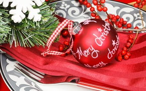 Wallpaper Rowan, close-up, plate, ball, branch, holiday, New year, napkin, toy, red