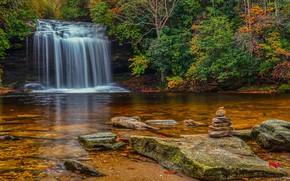 Wallpaper nature, stones, stream, trees, waterfall