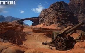 Picture rocks, fence, gun, Battlefield 1, Sinai Desert