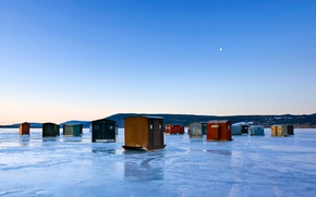 Picture ice, lake, house, USA, the state of new York