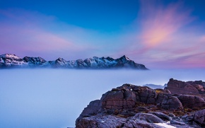 Picture the sky, clouds, mountains, fog, rocks, top