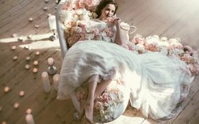 Picture flowers, style, candles, the bride, wedding dress, Valeriya Mytnik, Asel