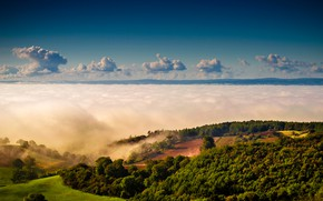 Picture greens, the sky, the sun, clouds, trees, fog, hills, field, horizon, UK, Yorkshire