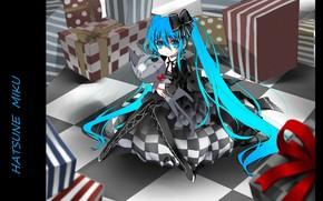 Picture strips, gifts, pillow, vocaloid, black dress, bow, Hatsune Miku, Vocaloid, blue hair, box, eye patch, …