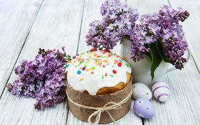 Wallpaper decoration, lilac, Easter, Easter, glaze, Happy, eggs, cakes, cake, the painted eggs, cake, spring, flowers, ...