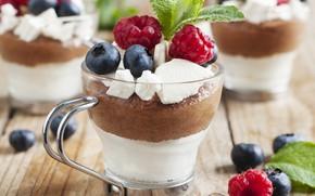 Picture berries, raspberry, cream, mint, dessert, blueberries