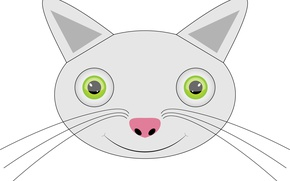 Picture cat, cat, kitty, Wallpaper, vector, figure, vector, pussy, cutie, pussy, on a white background, cat, ...