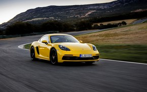 Picture landscape, yellow, movement, speed, track, Porsche, turn, 2017, 718 Cayman GTS