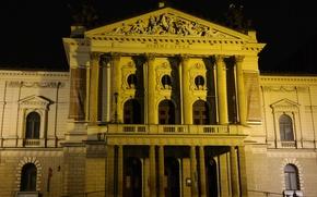 Picture night, lights, Prague, Czech Republic, theatre, Opera