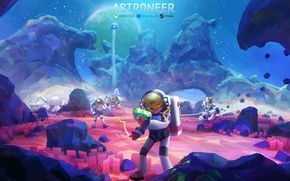 Picture space, stars, blue, rocks, pink, blue, the moon, asteroid, astronauts, game, Shuttle, Astroneer, asroneer, moon …