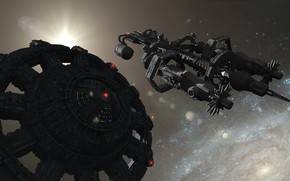 Picture space, ship, stars, Giant-8897 in space