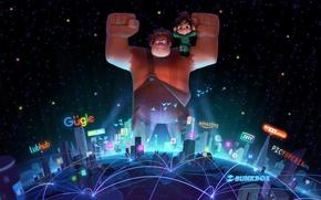 Wallpaper cartoon, characters, Walt Disney, Walt Disney, Ralph, Vanellope, Ralph, Wreck-It Ralph 2
