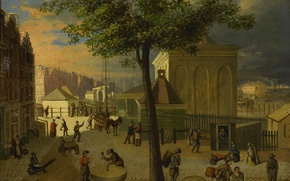Picture tree, oil, picture, the urban landscape, Market Grinding Stones in Amsterdam
