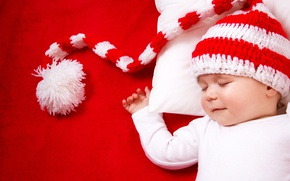 Picture Children, Sleeping, Hat, Colored Background, Baby
