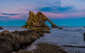 Picture sea, nature, rocks, Bowfiddle Rock, Шотландияt, Seas