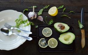 Picture Knife, Lemon, Spoon, Plug, Lemon, garlic, Garlic