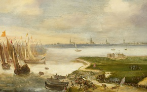 Picture tree, ship, oil, picture, sail, A failed Attack on Antwerp