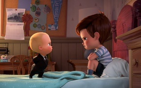 Picture spy, boy, baby, brothers, suit, kid, tie, The Boss Baby, animated movie animated film