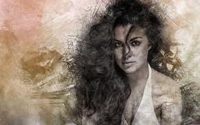 Picture girl, hair, brunette, art, curl