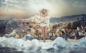 Picture girl, model, hair, makeup, hairstyle, blonde, fur, photoshoot, Monica Synytycz