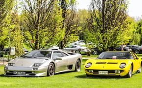 Picture Color, Auto, Yellow, Lamborghini, Machine, Classic, Grey, 1971, Lights, Car, Diablo, Supercar, Lamborghini Miura, P400, …