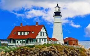 Picture coast, lighthouse, building