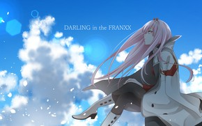 Wallpaper anime, Sitting, art, The sky, girl, Darling in the frankxx
