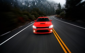 Picture road, photographer, Dodge, red, Charger, Larry Chen, R/T Scat Pack