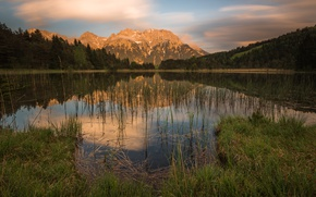 Picture forest, summer, the sky, grass, water, clouds, landscape, mountains, nature, lake, reflection, hills, shore, vegetation, …