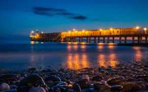 Picture sea, night, lights, stones, coast, horizon, lights, pierce, Russia, Sochi