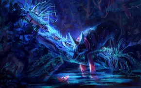 Wallpaper water, night, nature, wolf, paper boat, by AlaxendrA