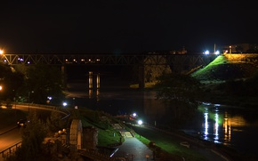 Picture water, night, bridge, river, lights, Grodno