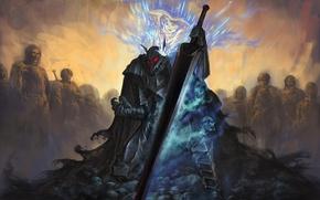 Picture sword, anime, art, armor, Berserk, Guts, Schierke, Berserker