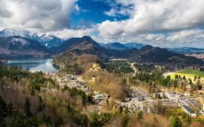 Picture the sky, clouds, landscape, Landscape over Alps