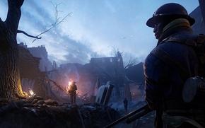 Picture War, Soldier, Trees, Ruins, Battlefield 1, Beatiful sky