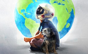 Picture dog, boy, art, helmet, the globe, poster, Miracle, drama, Wonder