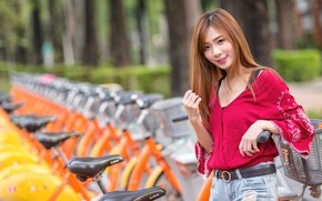 Wallpaper girl, bokeh, cutie, Asian, bikes