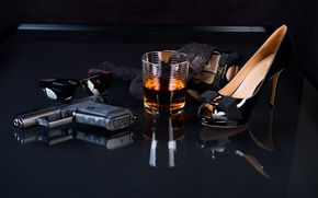 Picture glass, gun, glasses, shoes